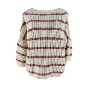 Fate By LFD White Striped Crop Bell Sleeve Sweater